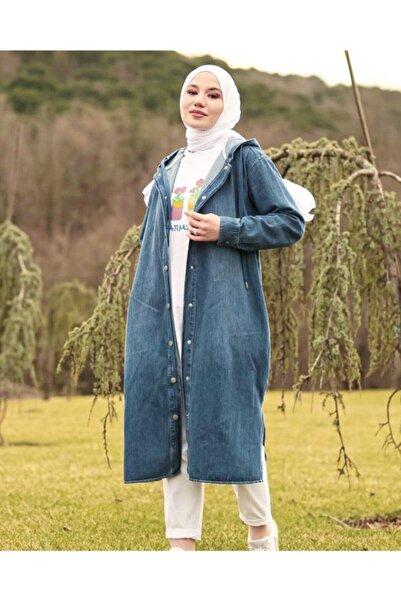 NK Kapüşonlu Uzun Kot Ceket