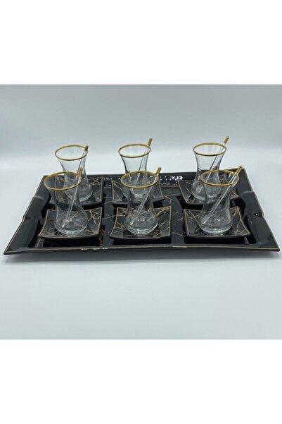 GÜRCÜGLASS Siyah Mermer Tepsili 13 Parça Çay Seti