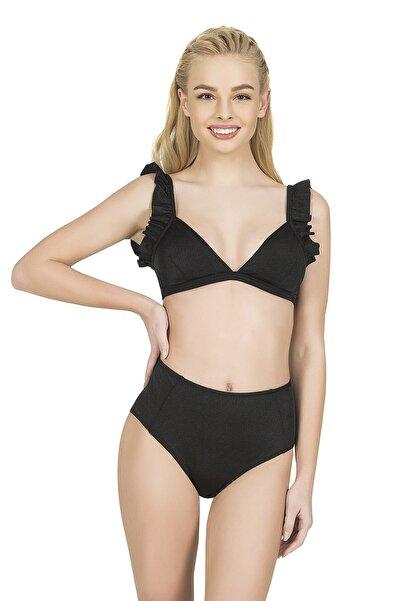 Endeep Kadın Siyah Fırfırlı Yüksek Bel Bikini Takımı
