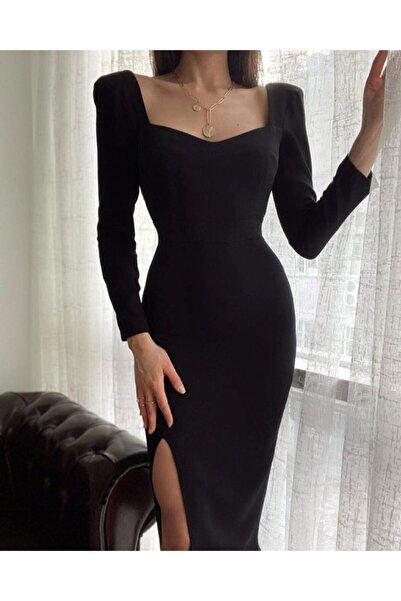 Shepoint Yırtmaçlı Kalem Elbise