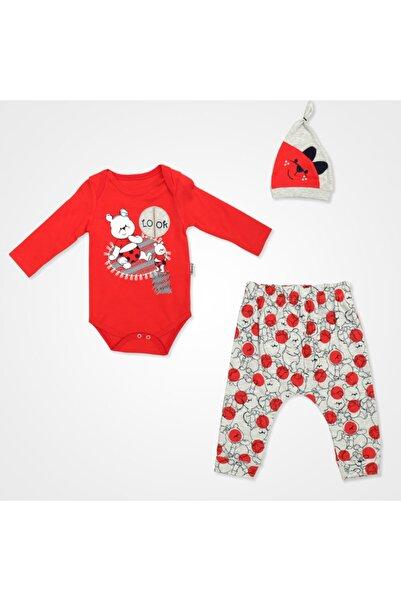 Miniworld Look Ayıcık Badili Bebek Takımı 3 Parça - Kırmızı