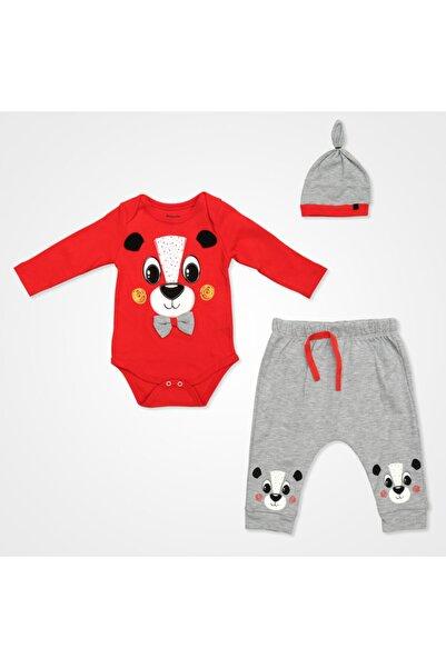 Miniworld Papyonlu Ayıcık Badili Bebek Takımı 3 Parça - Kırmızı