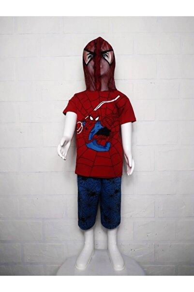 SPIDERMAN Maskeli Kapşonlu Tişört +kapri Şort Takım