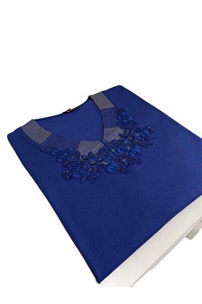 Elele Boncuk Gipür Çiçek Desenli Mavi Anne Penye Bluz