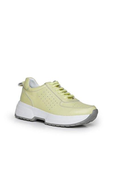Beta Shoes Hakiki Deri Kadın Sneaker Spor Ayakkabı Sarı
