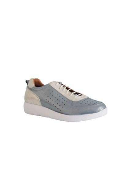 Beta Shoes Hakiki Deri Kadın Sneaker Simli Ayakkabı Mavi