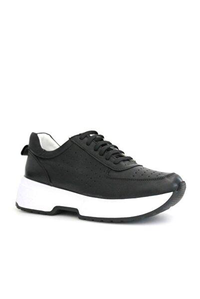 Beta Shoes Hakiki Deri Kadın Sneaker Spor Ayakkabı Siyah