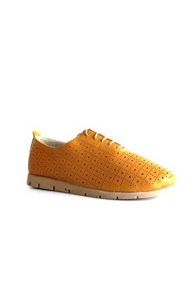 Beta Shoes Hakiki Deri Kadın Günlük Ayakkabı Hardal