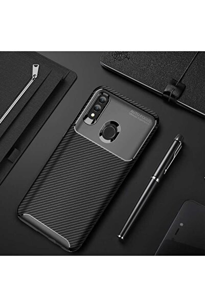 Huawei P Smart 2019 Kılıf Karbon Fiber Tasarımlı Dayanıklı Negro Model