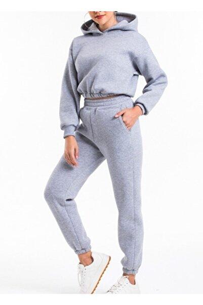 ronay giyim Kadın Gri Kapüşonlu Yüksek Bel  İçi Polarlı Kumaş Eşofman Takımı