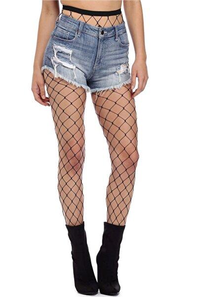 FandD Kadın Siyah Burnu Dayanıklı File Desenli Kilotlu Çorap