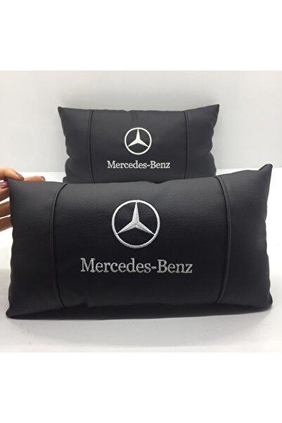 CEM OTOMOTİV Mercedes Benz Araç Boyun Yastığı Lüks Deri 2 Adet Oto Yastık