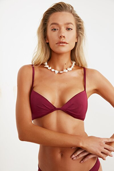 TRENDYOLMİLLA Bordo Üçgen Bikini Üstü TBESS21BU0055