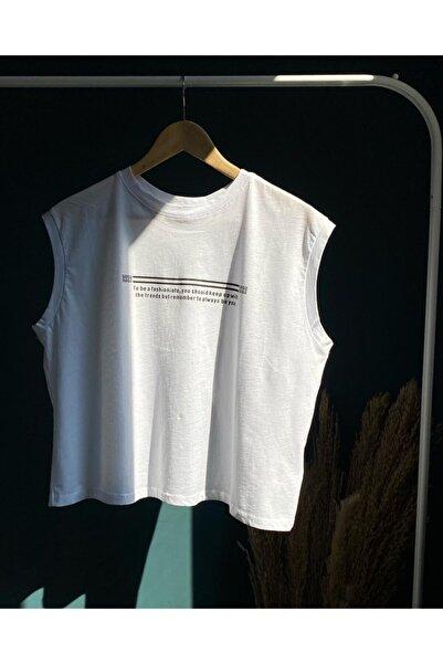 BEBE PLUS Kadın Beyaz Oversize Sırt Detaylı T-shirt