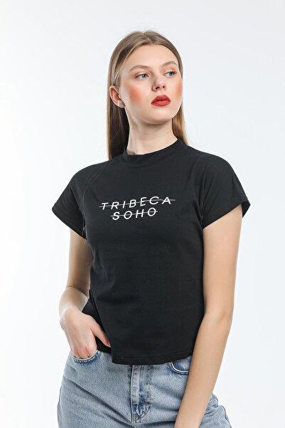 AFC Shop Kadın %100 Pamuk Baskılı Dik Yaka Örme Crop T-shirt
