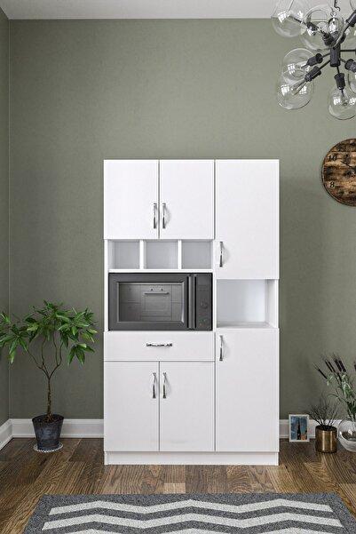 AEKA Anka Beyaz Çok Amaçlı Mutfak Dolabı & Banyo Dolabı 6 Kapaklı, 1 Çekmeceli