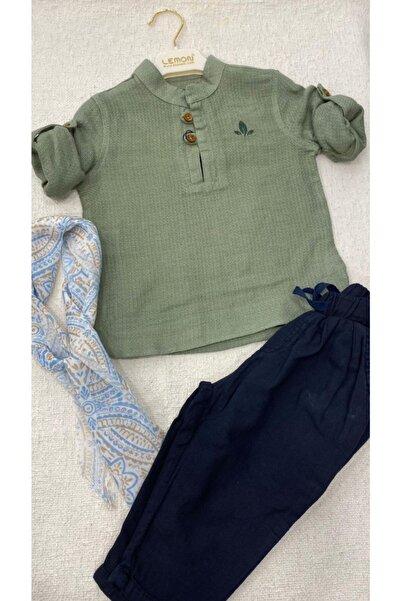 Lemonkids Lemon Kids Erkek Çocuk Fular Gömlek Şalvar Pantolon Takım