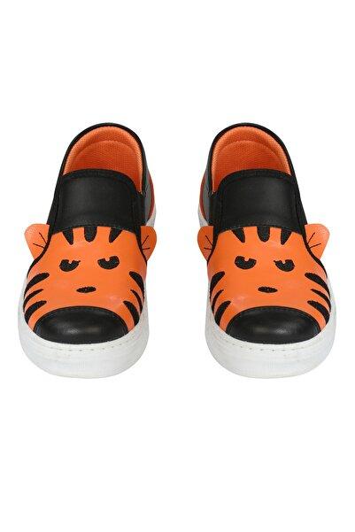 ZENOKIDO Erkek Çocuk Siyah Turuncu Minik Leopar Sneakers Ayakkabı