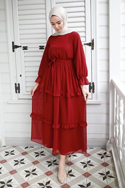 saretex Fırfır Detaylı Kolları Büzgülü Şifon Elbise Bordo