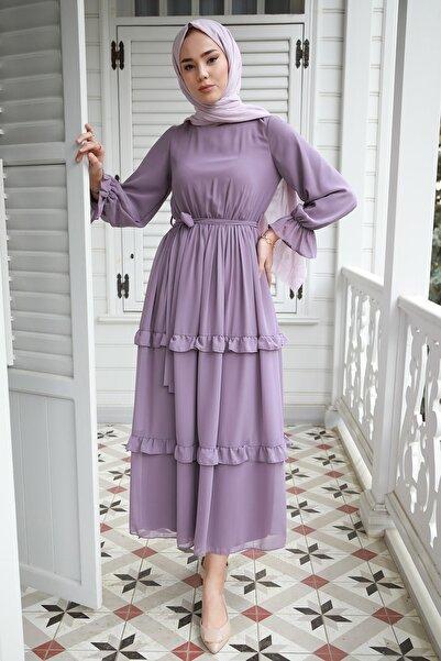 saretex Fırfır Detaylı Kolları Büzgülü Şifon Elbise Lila