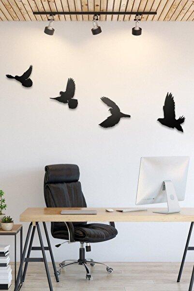 Üçgen Dekoratif Modern Dörtlü Kuş Duvar Süsü Duvar Dekoru 4 Adet