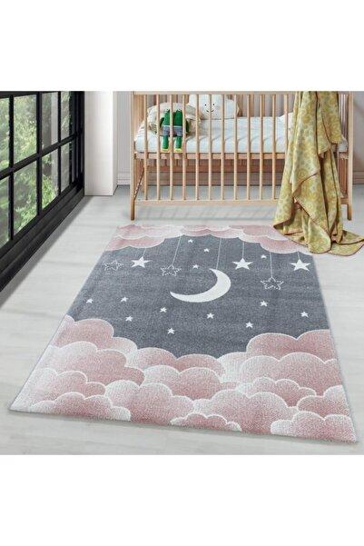AYYILDIZ Çocuk Bebek Odası Halısı Bulut Ay Yıldız Desenli Pembe Gri Tonlarda