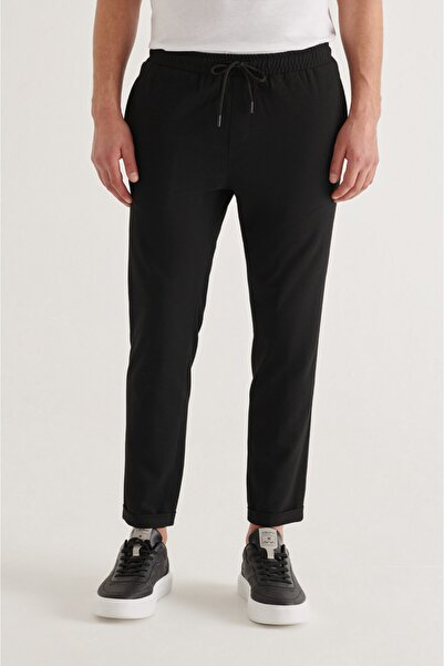 Avva Erkek Siyah Yandan Cepli Beli Lastikli Kordonlu Düz Relaxed Fit Pantolon E003000
