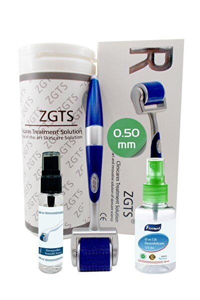 Zgts Blue Line Dermaroller 0.50mm Titanyum 192 İğneli Saç Yüz Cilt İçin Derma Roller
