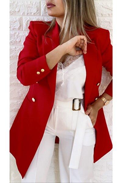 SEDA FİDAN Uzun Gold Düğmeli Blazer Ceket Kırmızı