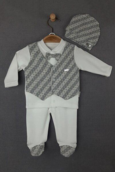Flexi Erkek Bebek Gri 3 Parça Yelekli Papyonlu Zıbın Seti