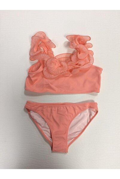 Kom Fırfır Detaylı Kız Çocuk Bikini / Somon