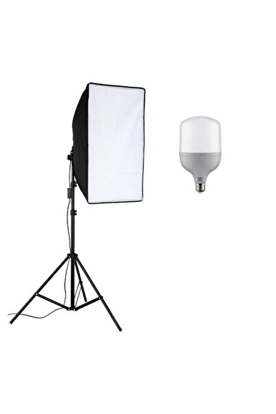 cazipshop Güçlü Led Ampullü Youtube Video Ve Fotoğraf Için 50x70 Softbox Sürekli Işık