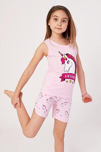 zepkids Kız Çocuk Şortlu Pijama Takımı Awsome Baskılı 4-9 Yaş