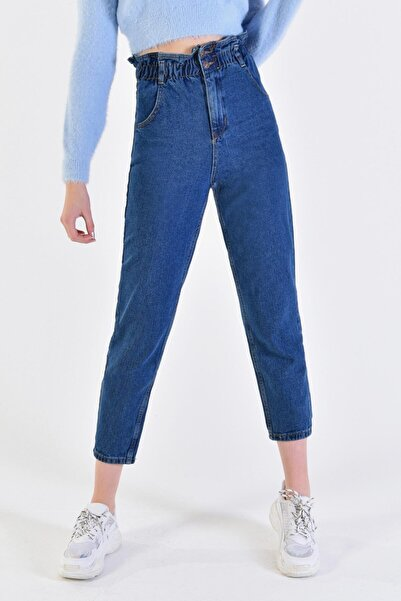 IŞILDA Kadın Mavi Beli Lastikli Boyfrıend Pantolon