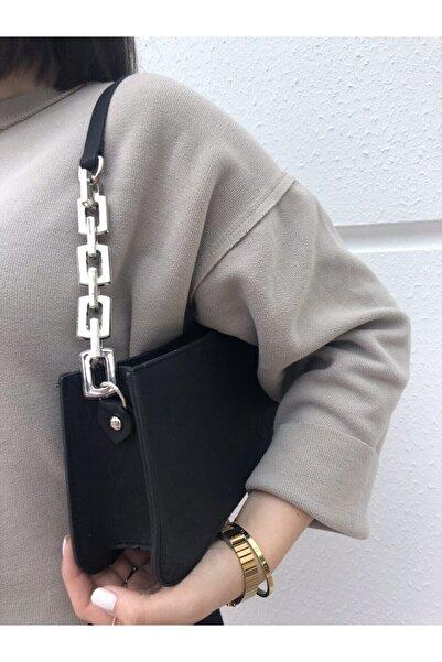 Bobigo Kadın Siyah Zincir Detaylı Baget Çanta