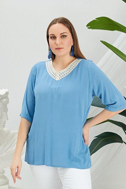 RMG Kadın Yaka Dantel Detaylı V Yaka Büyük Beden Indigo Bluz