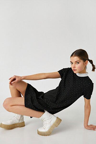 Koton Kadın Siyah Desenli Elbise