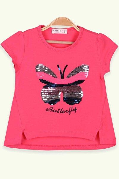 Breeze Kız Çocuk Pembe Kelebek Nakışlı T-Shirt
