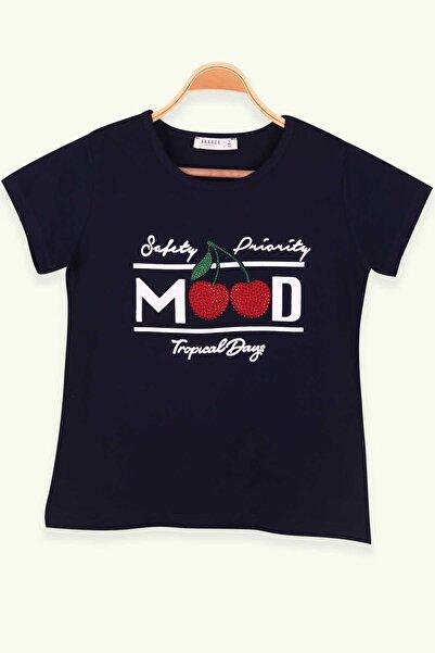 Breeze Kız Çocuk Lacivert Taş Baskılı T-Shirt