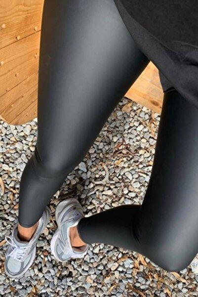 İNCEBELLİ Kadın Siyah Fitform Mat Deri Tayt