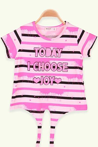 Breeze Kız Çocuk Neon Pembe Baskılı Simli T-Shirt