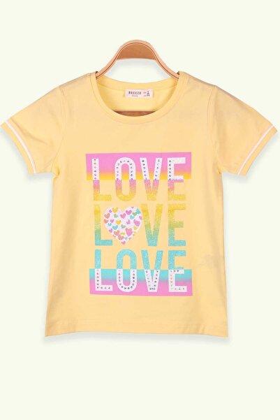 Breeze Kız Çocuk Sarı Baskılı Simli T-Shirt
