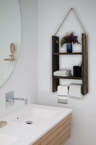 Dekolia Dekoratif Askılı Banyo Rafı Havluluk Doğal Ahşap
