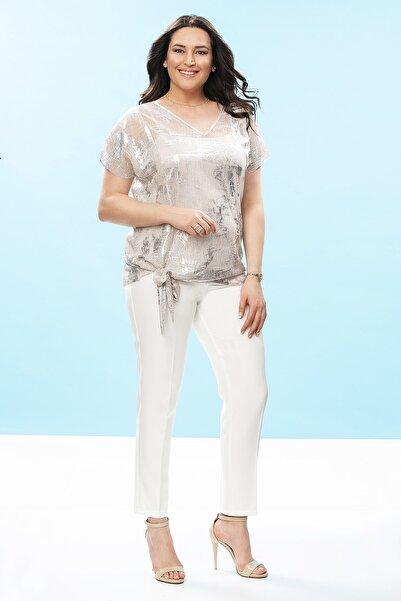 Even Plus Size - Büyük Beden Kadın Giyim Kadın Gümüş V Yaka Parlak Büyük Beden Bluz
