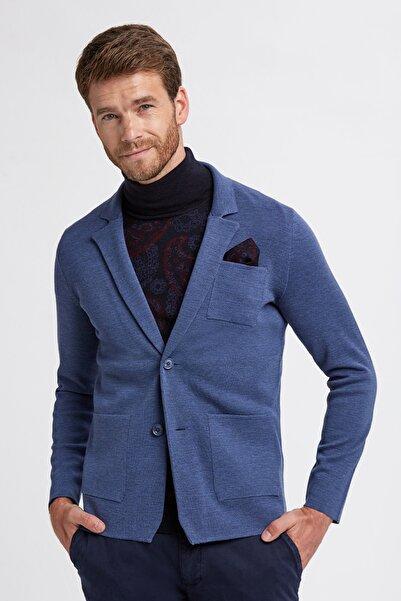 Hemington Erkek Mavi Triko Ceket
