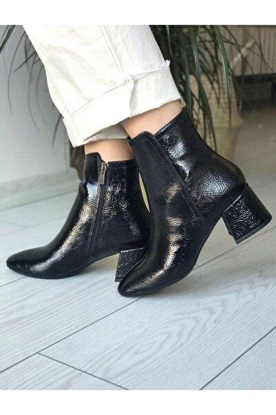 Sista Shoes Kadın Siyah Rugan Topuklu Bot