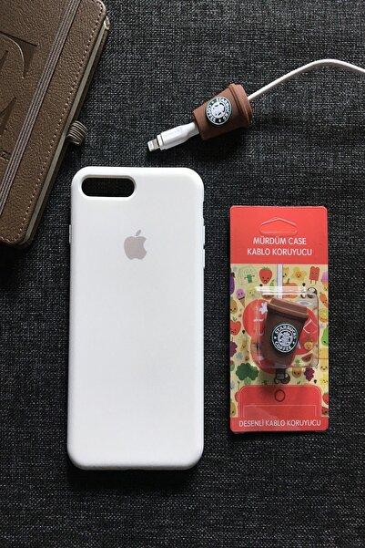 SUPPO Iphone 7/8 Plus Uyumlu Logolu Lansman Kılıf+kablo Koruyucu