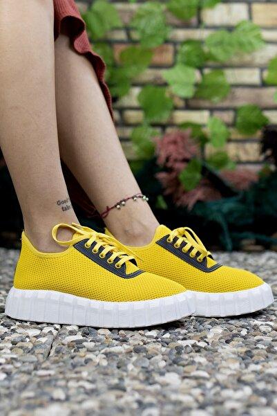 Riccon Kadın  Sarı Sneaker 0012113