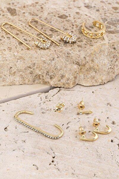 New Obsessions Kadın Altın Çengelli Kıkırdak Küpe Kombin Set 8 li