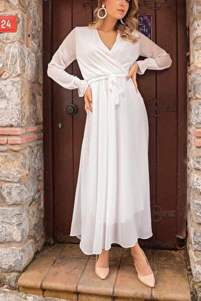 Beyaz Kruvaze Yaka Şifon Büyük Beden Elbise